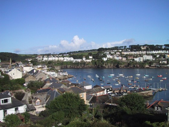 view of Fowey across the river from the house